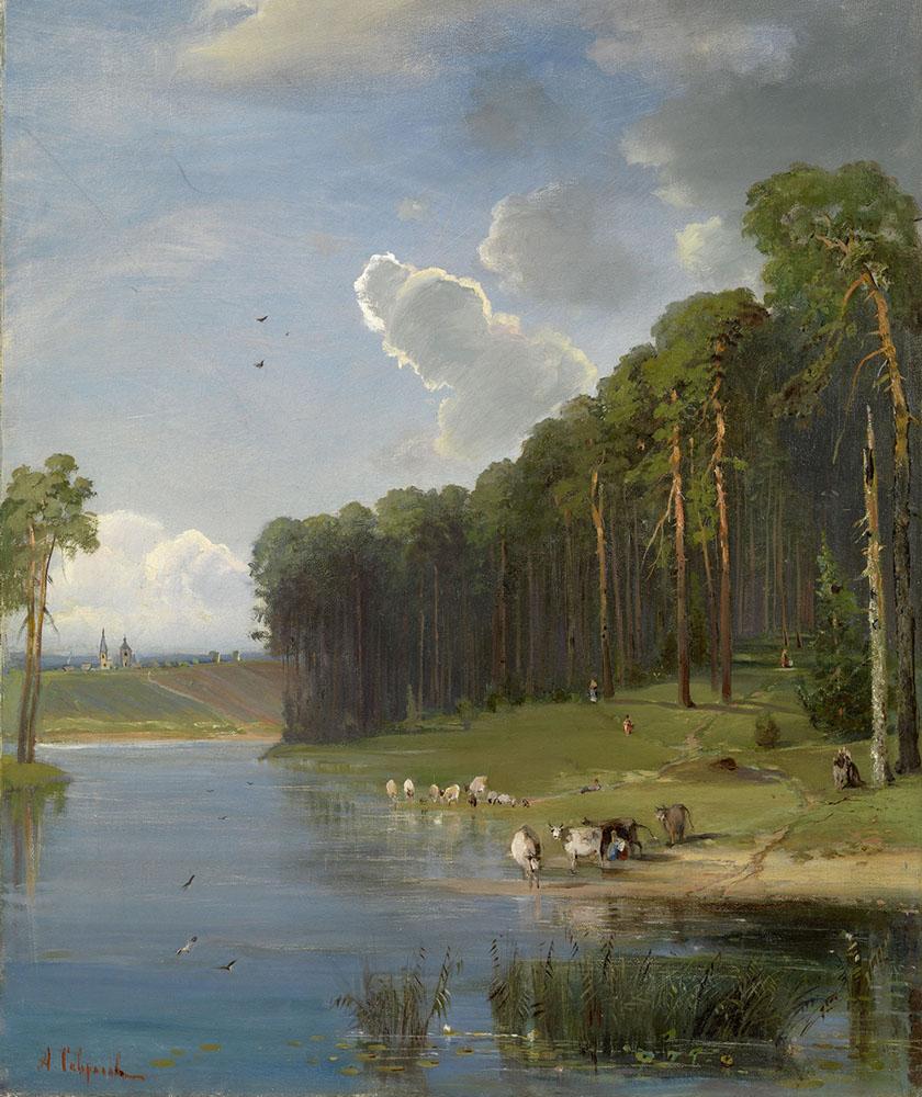 Картина «Сосновый бор на берегу реки», художник: Алексей Кондратьевич Саврасов