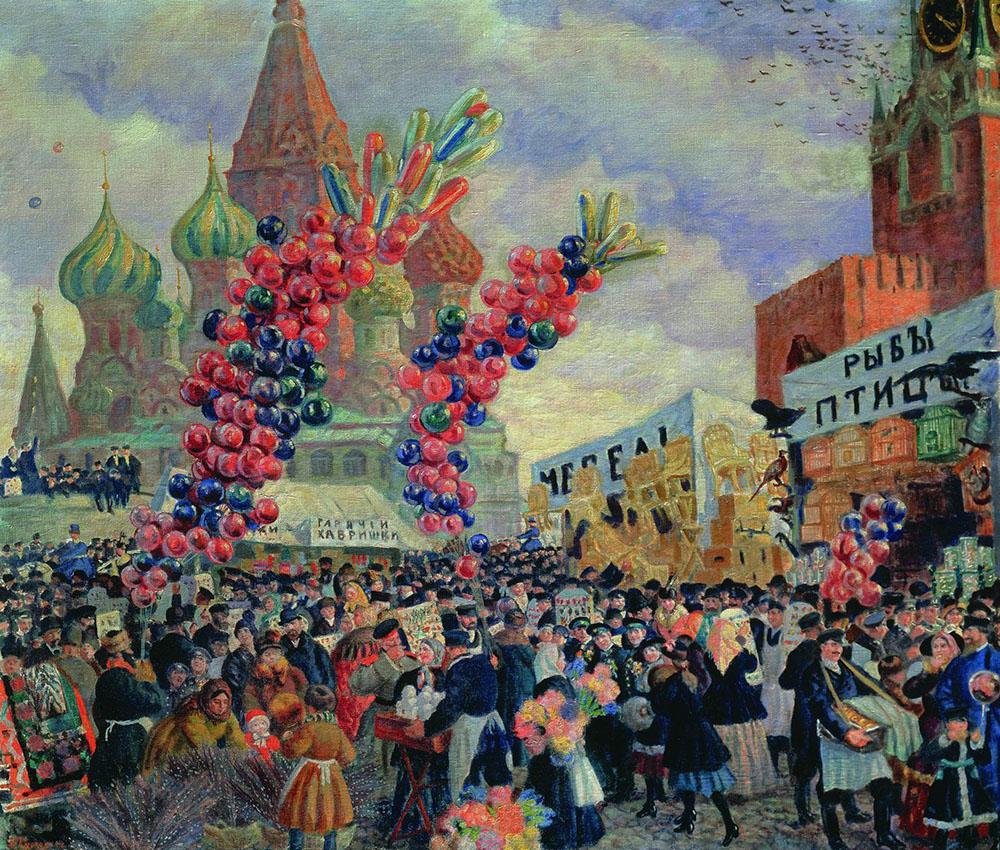 Картина «Вербный торг у Спасских ворот», художник: Борис Михайлович Кустодиев