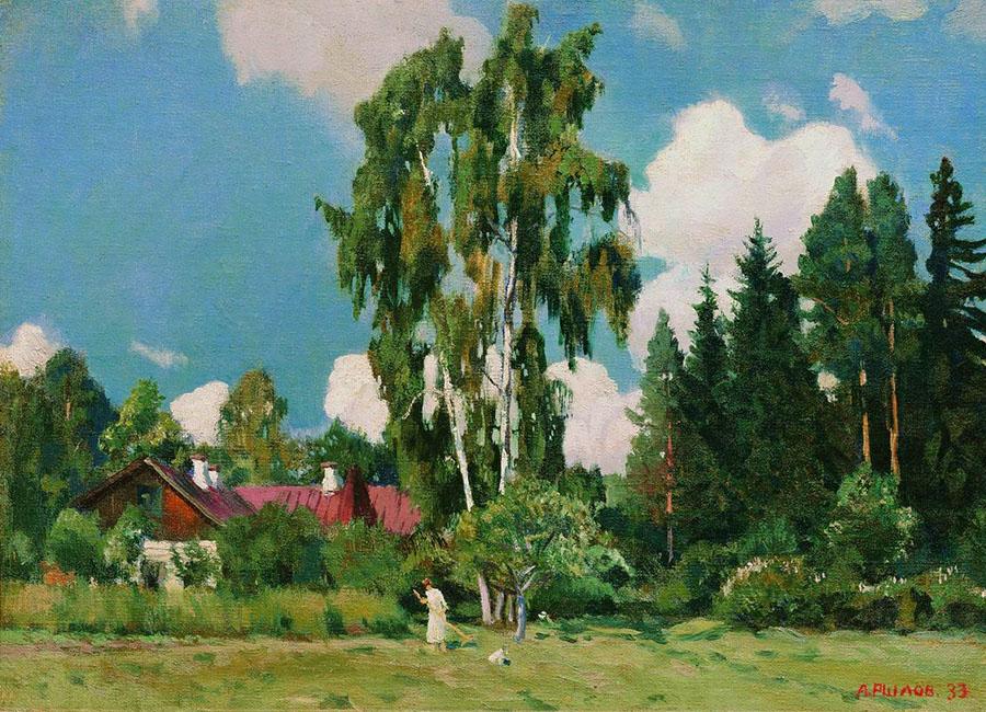 Картина «Домик с красной крышей», художник: Аркадий Александрович Рылов